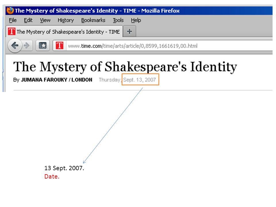 13 Sept. 2007. Date.