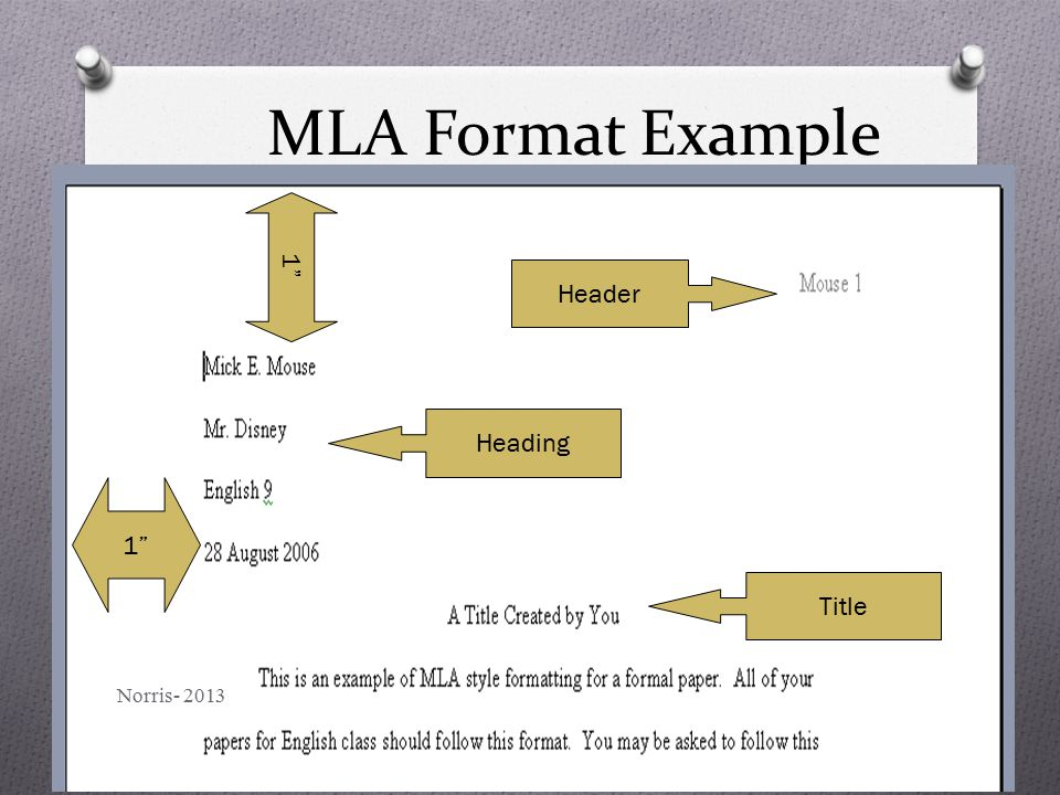 "MLA Format Example Header Heading Title 1"" Norris- 2013"