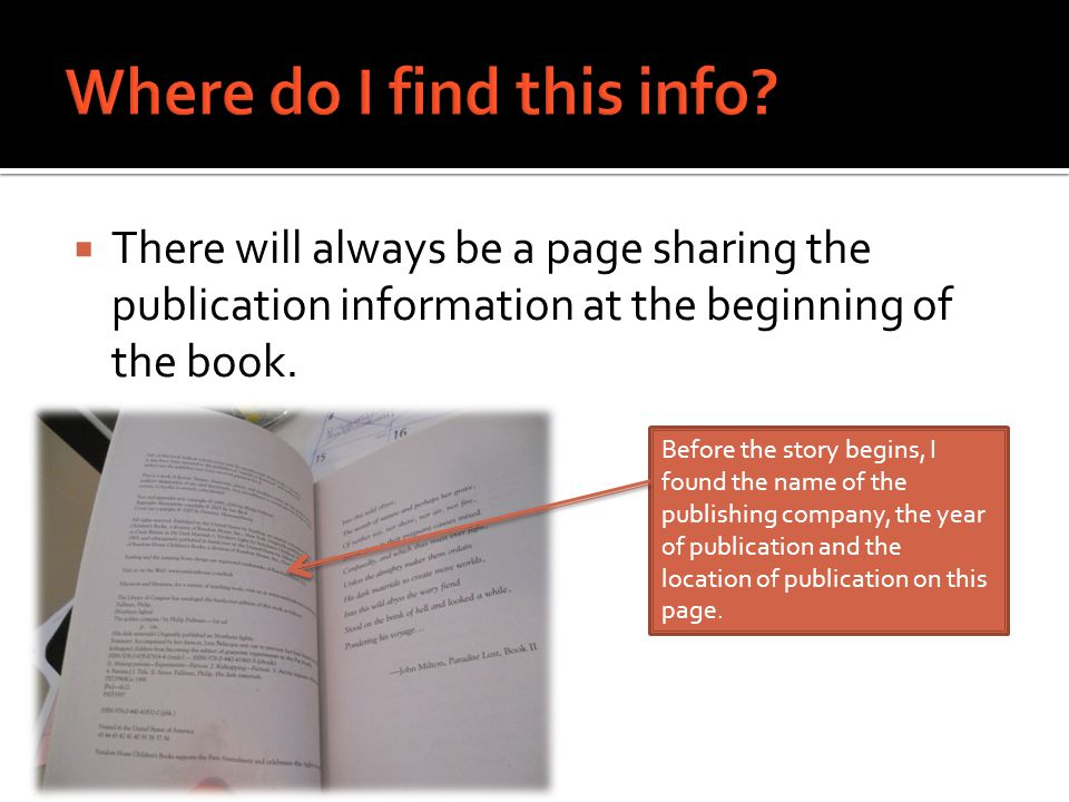  There will always be a page sharing the publication information at the beginning of the book.