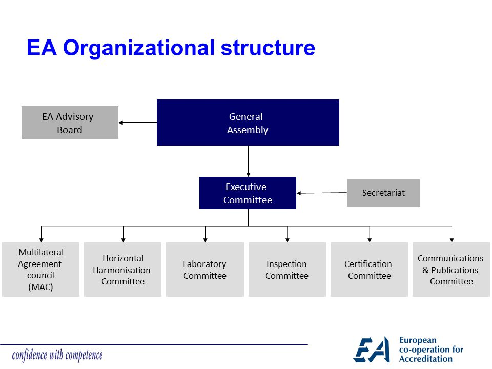 EA Organizational structure EA Advisory Board General Assembly Executive Committee Secretariat Multilateral Agreement council (MAC) Horizontal Harmoni