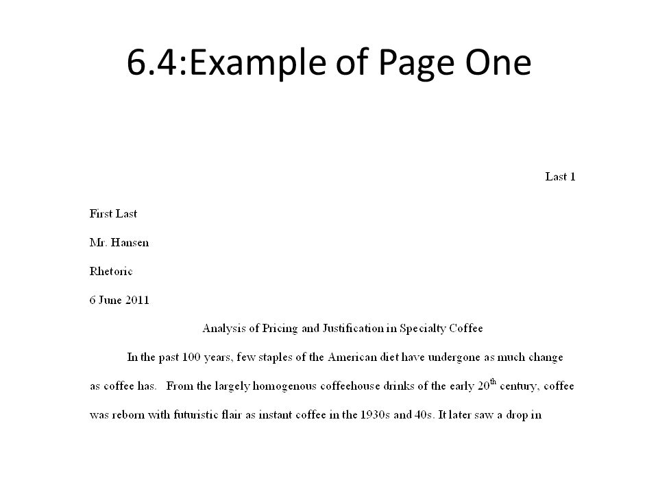 6.4:Example of Page One