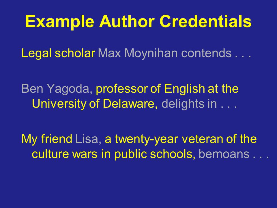 Example Author Credentials Legal scholar Max Moynihan contends...