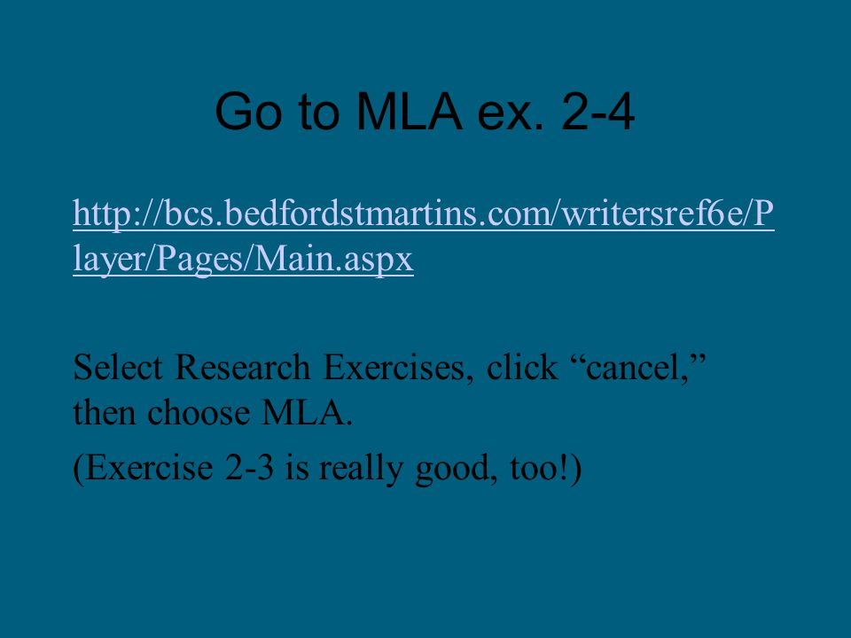 Go to MLA ex.