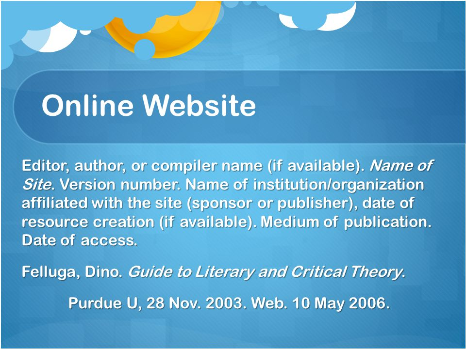 Online Website Editor, author, or compiler name (if available).