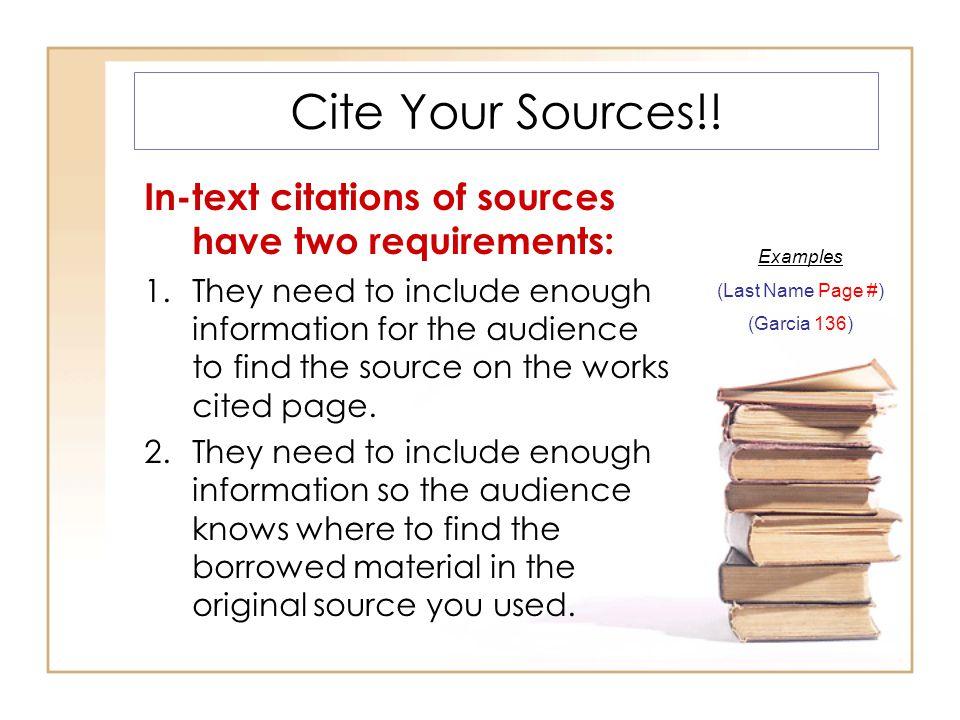 Cite Your Sources!.