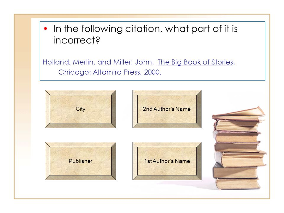 In the following citation, what part of it is incorrect.