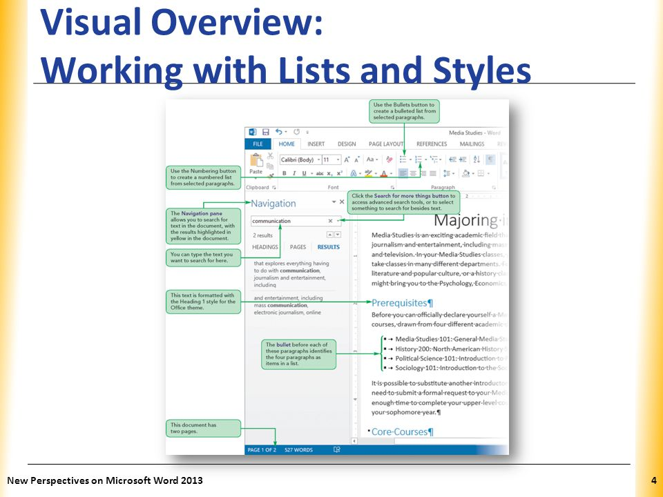 XP Visual Overview: Working with Lists and Styles New Perspectives on Microsoft Word 20134