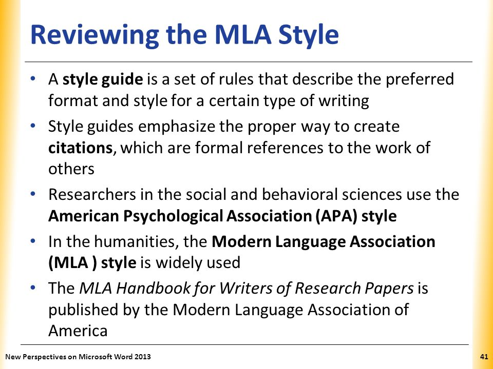 XP Reviewing the MLA Style A style guide is a set of rules that describe the preferred format and style for a certain type of writing Style guides emp