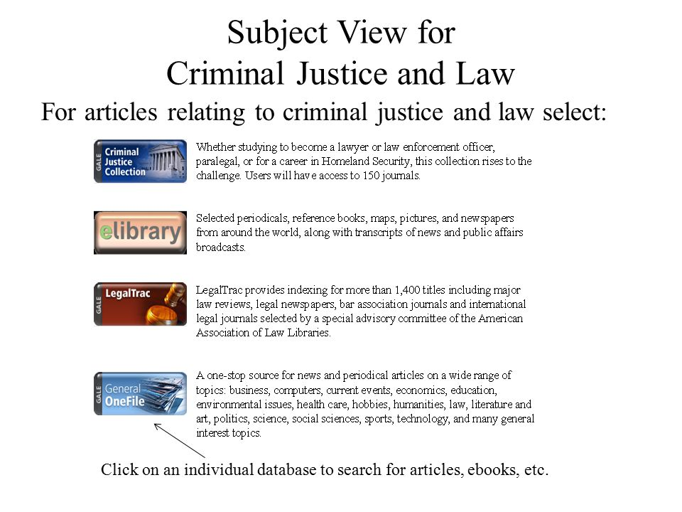 Subject View for Criminal Justice and Law For articles relating to criminal justice and law select: Click on an individual database to search for arti