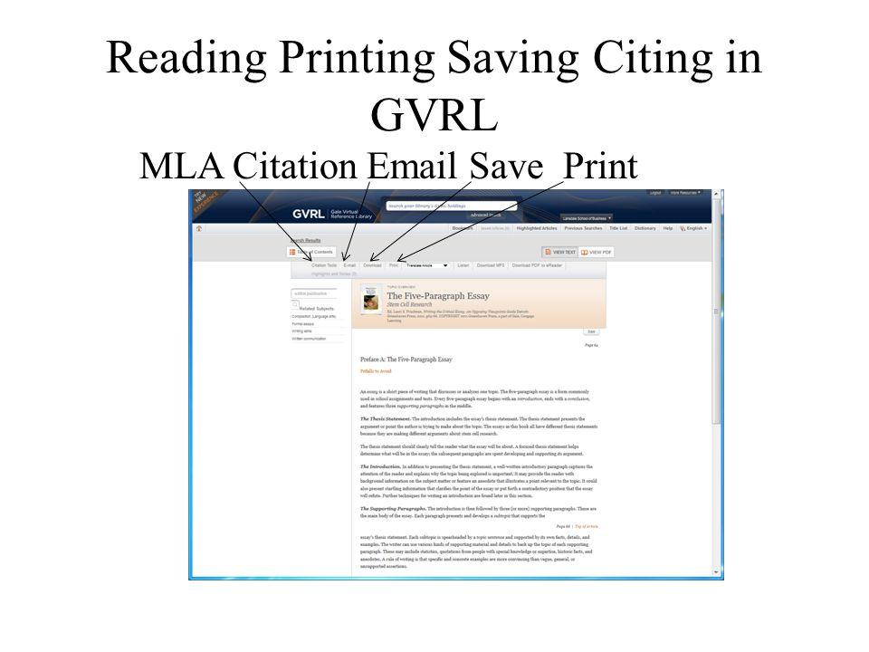 Reading Printing Saving Citing in GVRL MLA Citation Email Save Print