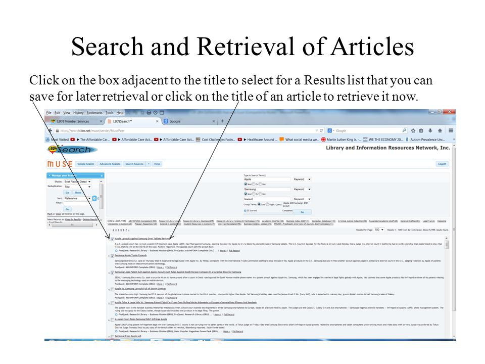 Search and Retrieval of Articles Click on the box adjacent to the title to select for a Results list that you can save for later retrieval or click on