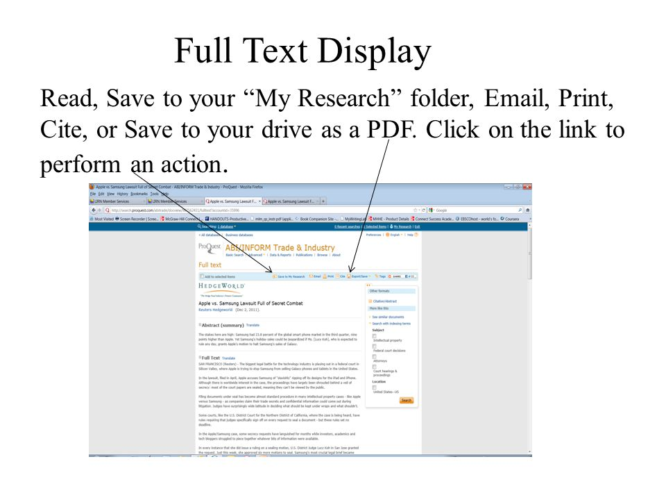 """Full Text Display Read, Save to your """"My Research"""" folder, Email, Print, Cite, or Save to your drive as a PDF. Click on the link to perform an action."""