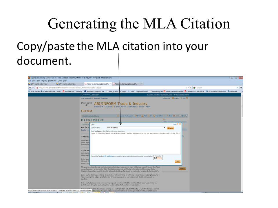 Generating the MLA Citation Copy/paste the MLA citation into your document.