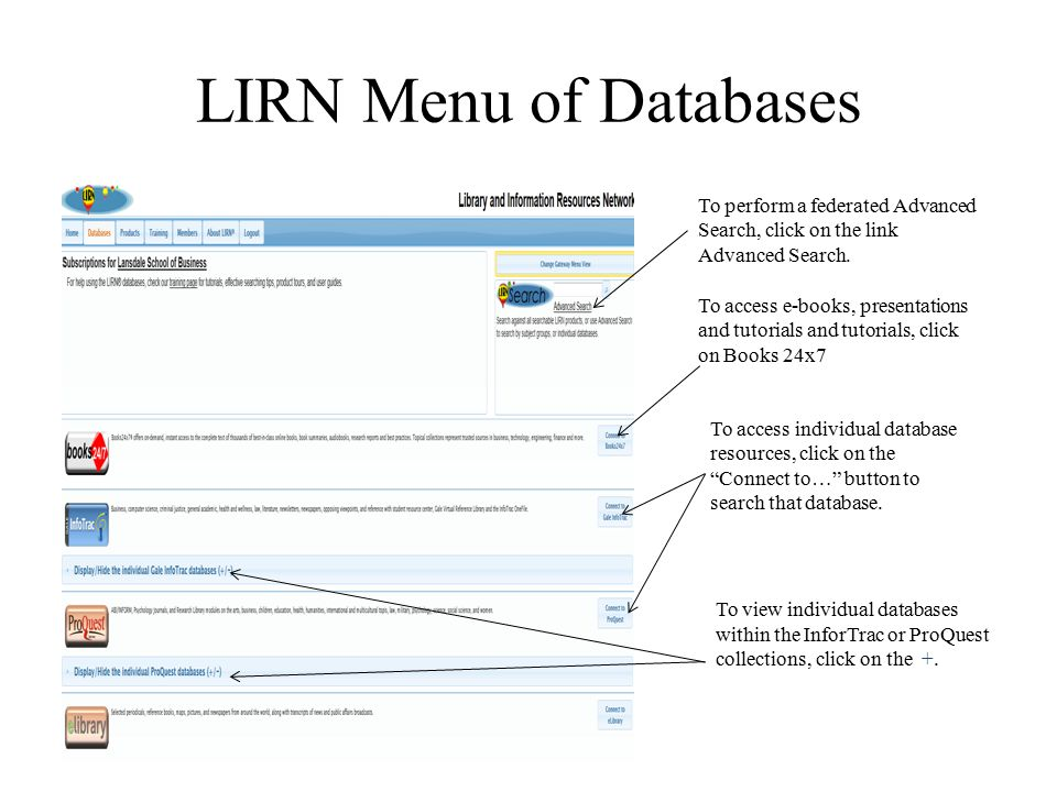 LIRN Menu of Databases To view individual databases within the InforTrac or ProQuest collections, click on the +. To perform a federated Advanced Sear