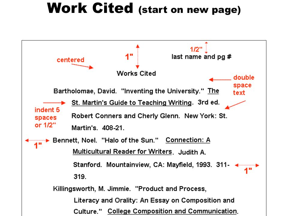 In-Text Citations: the Basics  MLA uses parenthetical citations  Parenthetical citations also depend on the source's entry on the Works Cited page  Signal word in the text is the first thing in the corresponding entry on the Works Cited page