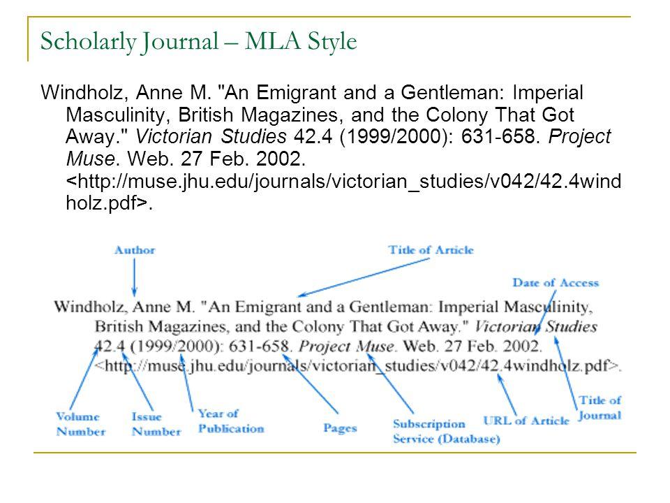 Scholarly Journal – MLA Style Windholz, Anne M.