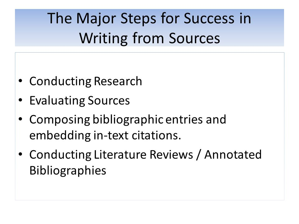 The Major Steps for Success in Writing from Sources Conducting Research Evaluating Sources Composing bibliographic entries and embedding in-text citat
