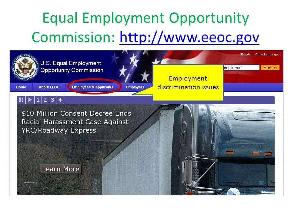 Equal Employment Opportunity Commission: http://www.eeoc.govhttp://www.eeoc.gov Employment discrimination issues