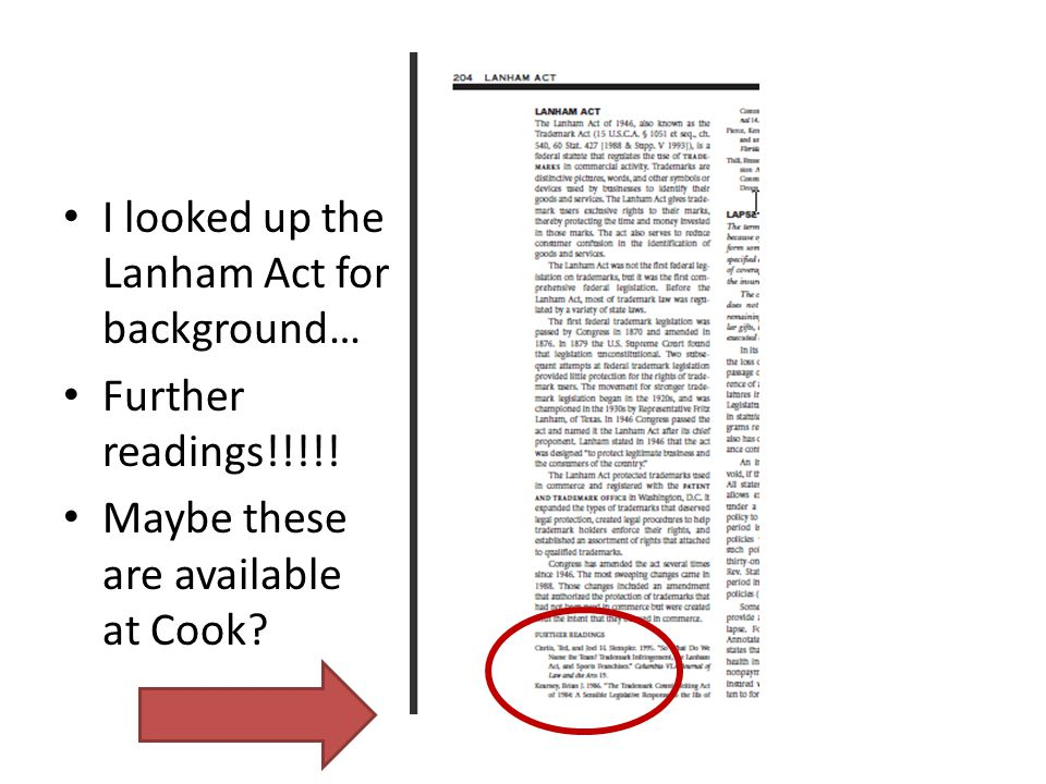 I looked up the Lanham Act for background… Further readings!!!!! Maybe these are available at Cook
