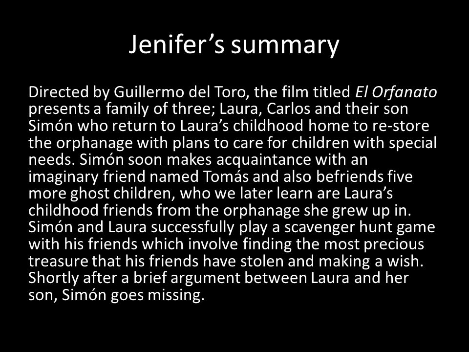 Jenifer's summary, con't A mysterious social worker named Benigna appears and Laura discovers the old remains of children in her coal shed.