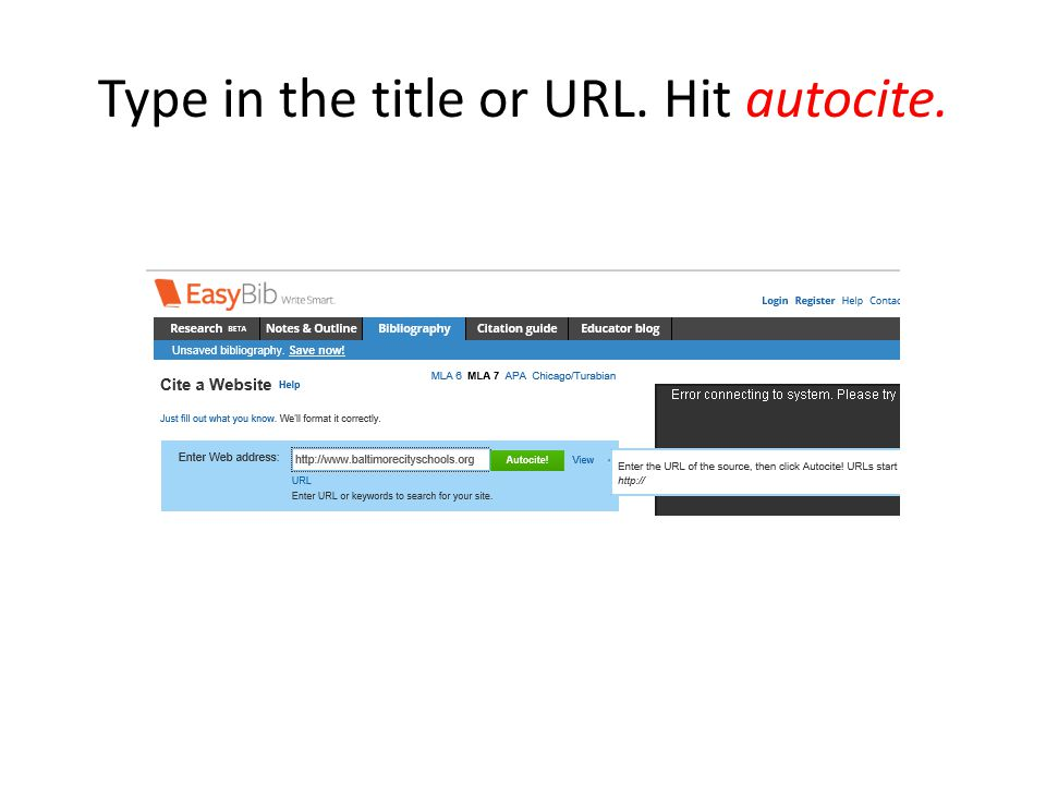 Type in the title or URL. Hit autocite.