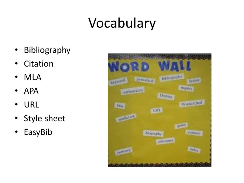Vocabulary Bibliography Citation MLA APA URL Style sheet EasyBib