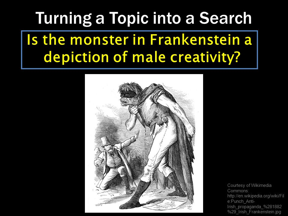 Constructing a Search Identify concepts and list synonyms Use truncation (insert * at end of root word) Connect keywords using AND and OR Frankenstein AND Shelley AND (creativity OR imagination)