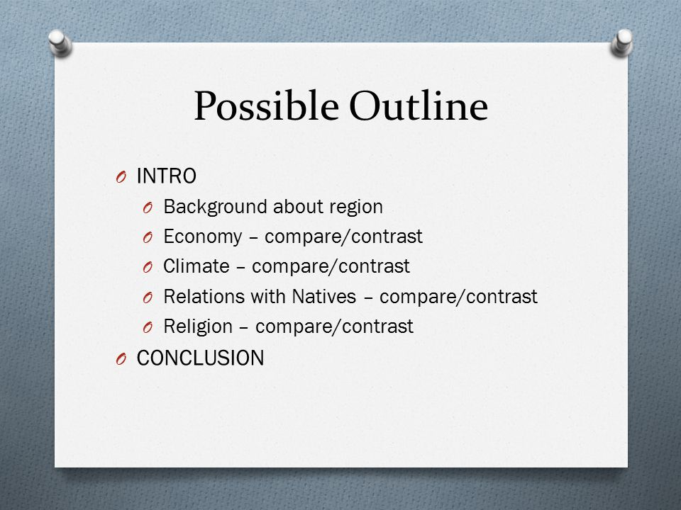 Possible Outline O INTRO O Background about region O Economy – compare/contrast O Climate – compare/contrast O Relations with Natives – compare/contrast O Religion – compare/contrast O CONCLUSION