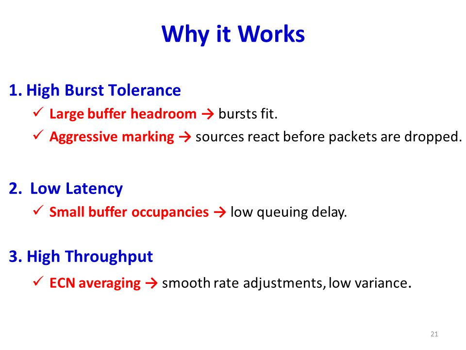 Why it Works 1.High Burst Tolerance Large buffer headroom → bursts fit.