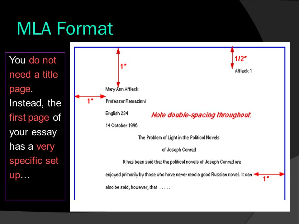 MLA Format ESSAY DETAILS  At the top of the page, on the left side, you put the following information in this order: Your FULL name Your teacher's name Your Course Code The date, using the following format: ○ Day Month Year ○ Do not use commas and do not write the 4 th For Example: John Smith ENG 1P1 Mrs.