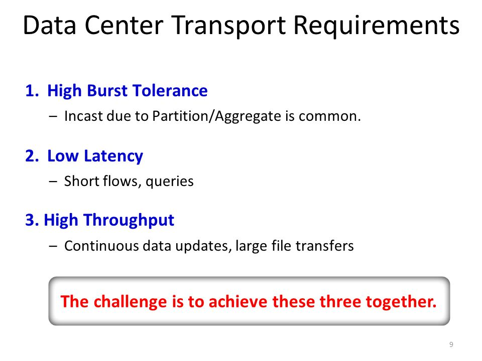 Data Center Transport Requirements 9 1.