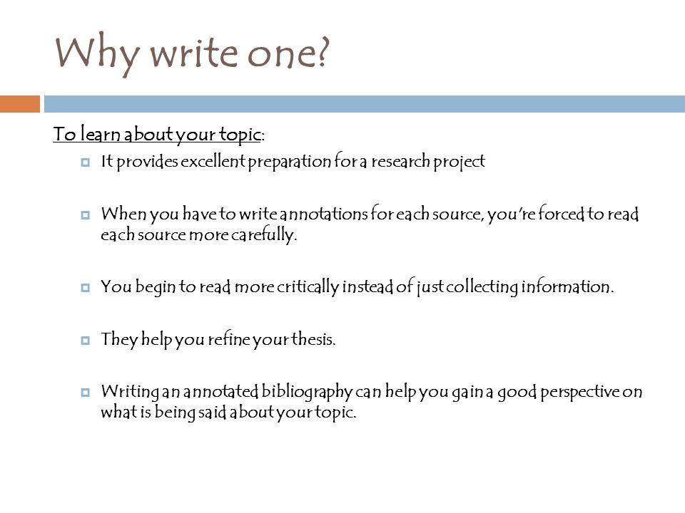 Why write one.