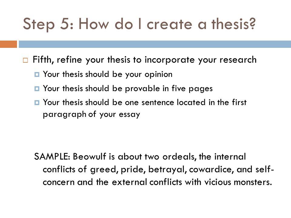 Step 5: How do I create a thesis.