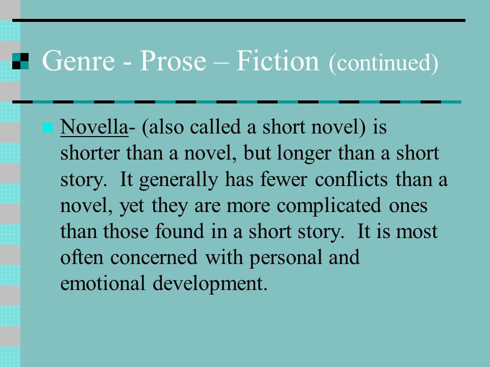 Genre - Prose – Fiction (continued) Novella- (also called a short novel) is shorter than a novel, but longer than a short story. It generally has fewe
