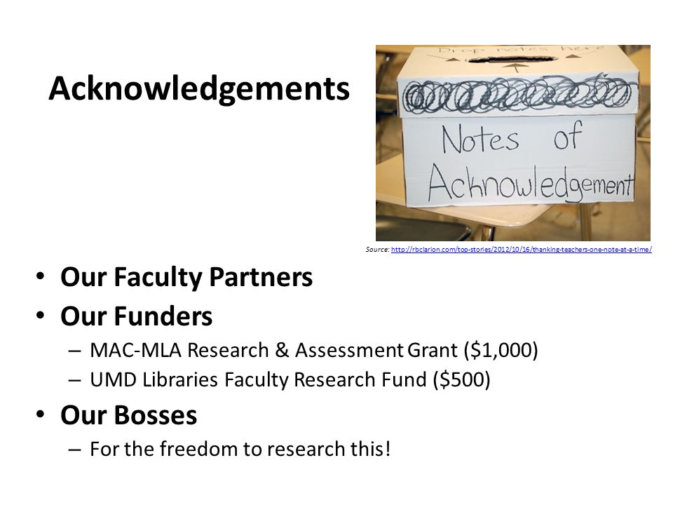 Acknowledgements Our Faculty Partners Our Funders – MAC-MLA Research & Assessment Grant ($1,000) – UMD Libraries Faculty Research Fund ($500) Our Bosses – For the freedom to research this.