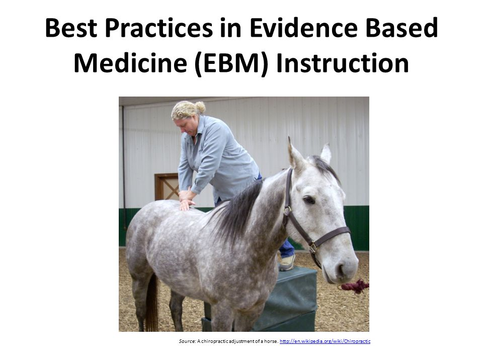 Best Practices in Evidence Based Medicine (EBM) Instruction Source: A chiropractic adjustment of a horse.