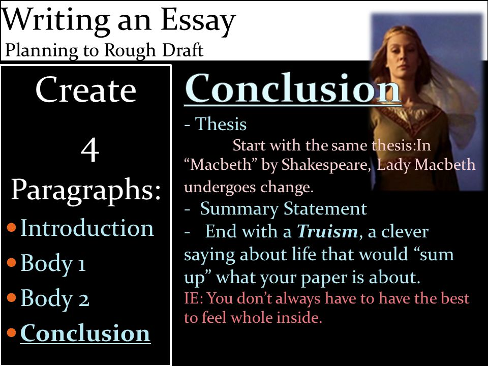 Writing an Essay Planning to Rough Draft Create 4 Paragraphs: Introduction Body 1 Body 2 Conclusion Create 4 Paragraphs: Introduction Body 1 Body 2 Conclusion