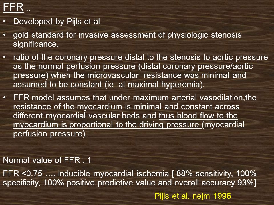 In this example….During maximal hyperemia (at the right side of the pressure tracing), the hyperemic distal pressure decreased to 58 mm Hg with aortic pressure of 112 mm Hg for an FFR of 0.52 (58/112).