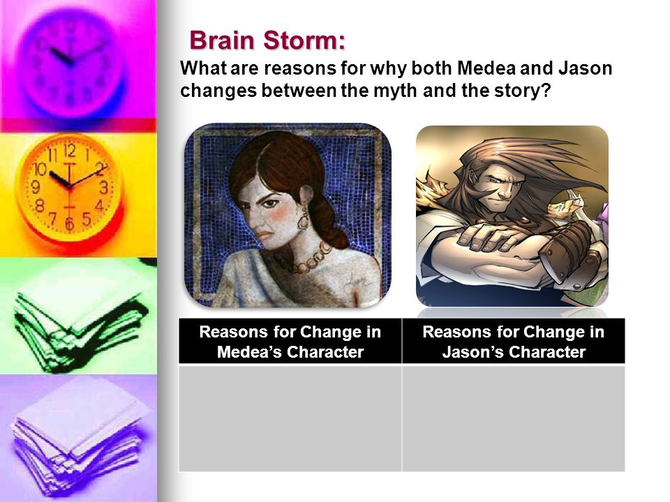 Brain Storm: Brain Storm: What are reasons for why both Medea and Jason changes between the myth and the story.