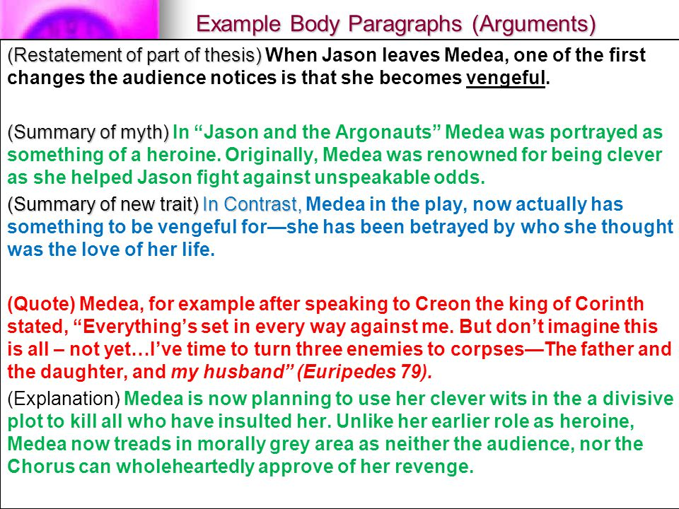 Example Body Paragraphs (Arguments) (Restatement of part of thesis) (Restatement of part of thesis) When Jason leaves Medea, one of the first changes the audience notices is that she becomes vengeful.