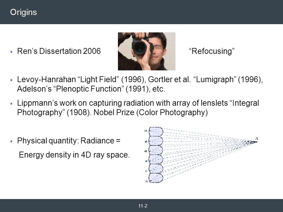 """ Ren's Dissertation 2006 """"Refocusing""""  Levoy-Hanrahan """"Light Field"""" (1996), Gortler et al. """"Lumigraph"""" (1996), Adelson's """"Plenoptic Function"""" (1991)"""