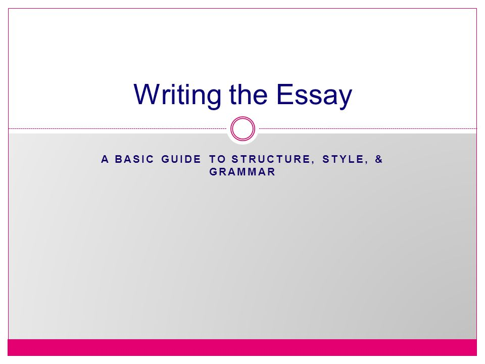 A BASIC GUIDE TO STRUCTURE, STYLE, & GRAMMAR Writing the Essay