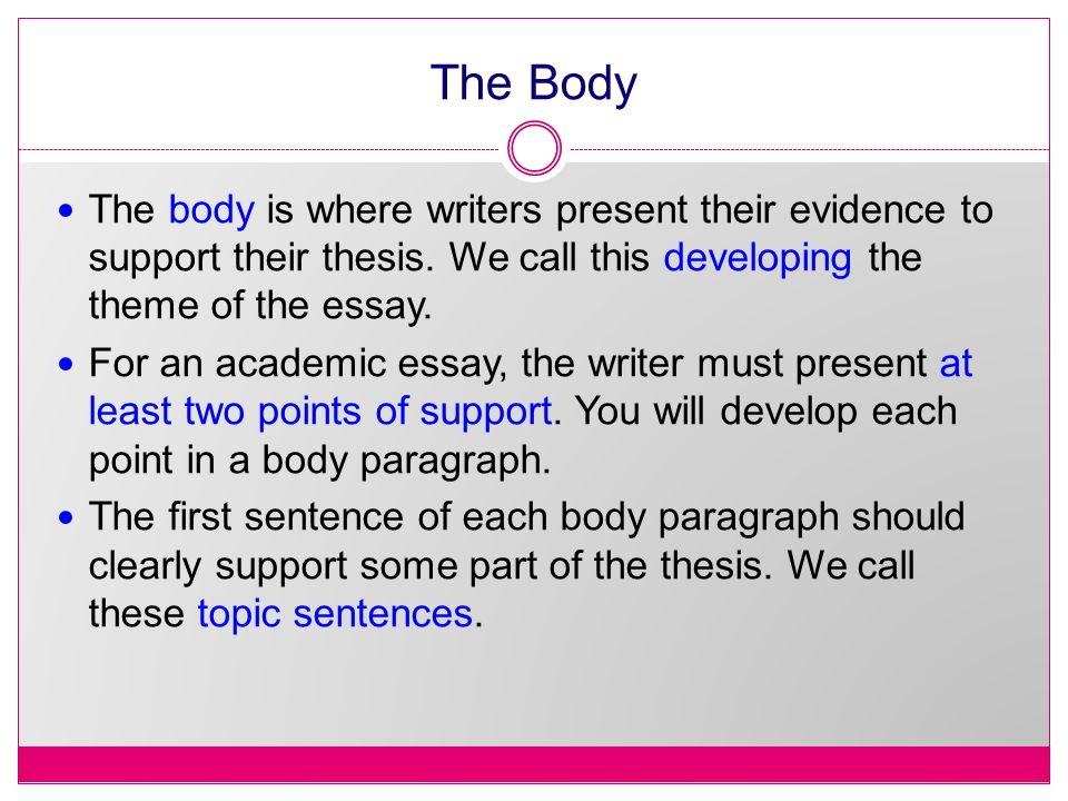 The Body The body is where writers present their evidence to support their thesis.