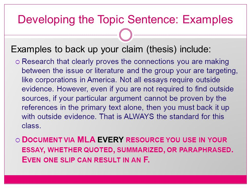 Developing the Topic Sentence: Examples Examples to back up your claim (thesis) include:  Research that clearly proves the connections you are making between the issue or literature and the group your are targeting, like corporations in America.