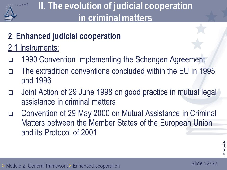 Slide 12/32 © copyright 2. Enhanced judicial cooperation 2.1 Instruments:  1990 Convention Implementing the Schengen Agreement  The extradition conv