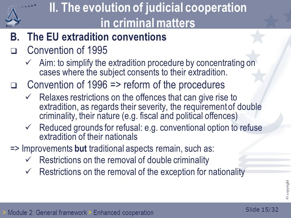 Slide 15/32 © copyright B.The EU extradition conventions  Convention of 1995 Aim: to simplify the extradition procedure by concentrating on cases whe