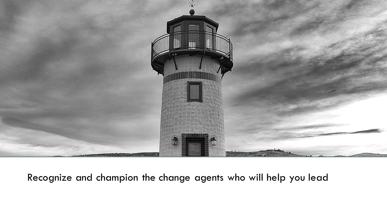 Recognize and champion the change agents who will help you lead