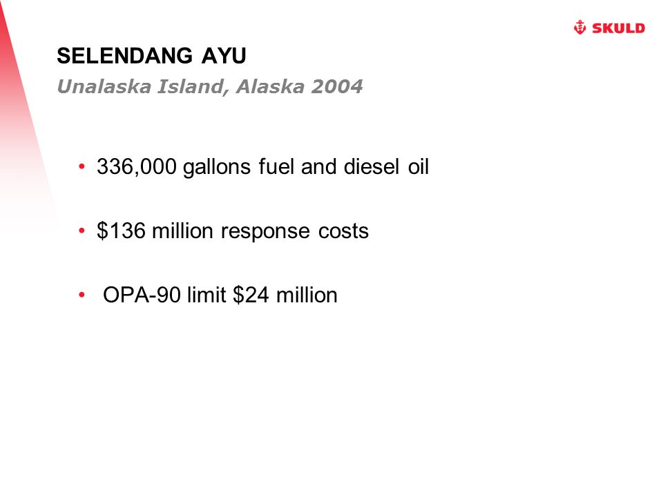 SELENDANG AYU 336,000 gallons fuel and diesel oil $136 million response costs OPA-90 limit $24 million Unalaska Island, Alaska 2004