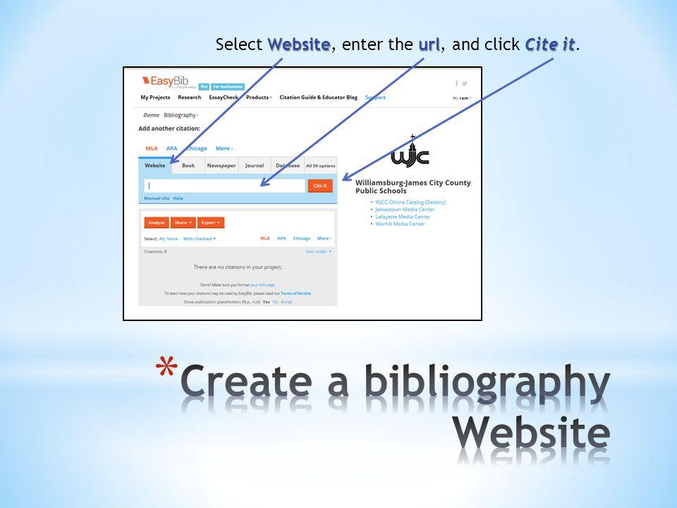 WebsiteurlCite it Select Website, enter the url, and click Cite it.