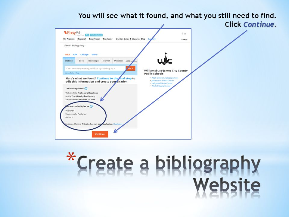 You will see what it found, and what you still need to find. Continue Click Continue.